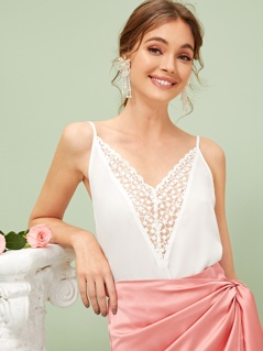 Embroidered Mesh Insert Cami Top