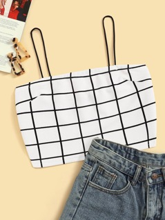 Grid Print Crop Cami Top