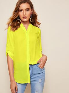 Neon Yellow Tab Sleeve Shirt