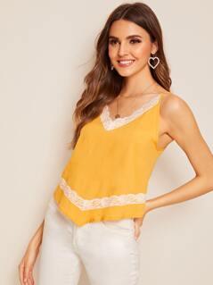 Lace Trim Asymmetrical Hem Cami Top