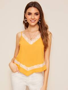 Lace Trim Asymmetrical Hem Cami Top