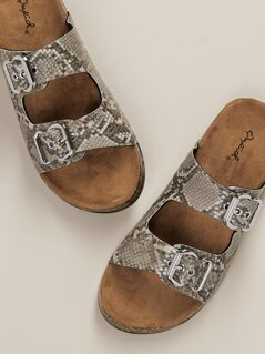 Snakeskin Buckled Bands Cork Sold Slide Sandals