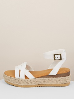 Open Toe Huarache Jute Flatform Back Strap Sandals