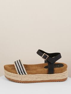 Metallic Stripe Band Ankle Strap Flatform Sandals