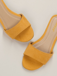 Peep Toe Single Band Flat Slide Mule Sandals