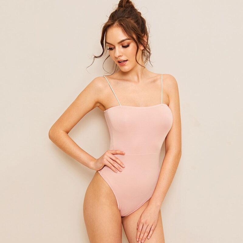Solid Skinny Cami Bodysuit, Pink pastel