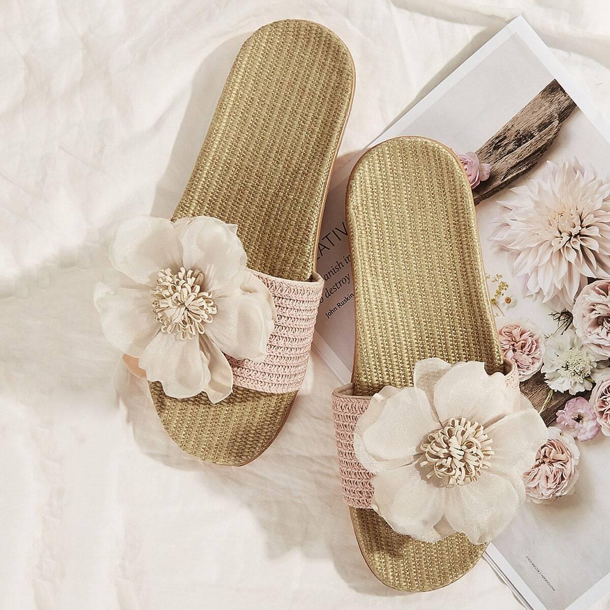 Кроссовки с открытым носком с цветоком от SHEIN