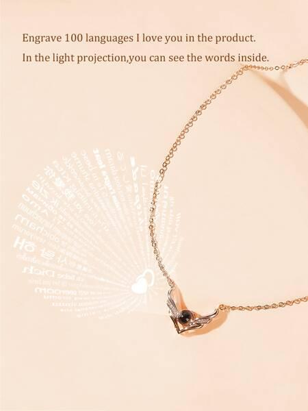 Deer Detail Light Projection Pendant Necklace 1pc