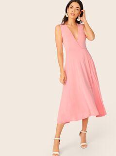 Plunging Neck Pocket Side Wrap Dress