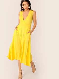 Neon Yellow Plunging Neck Pocket Side Wrap Dress