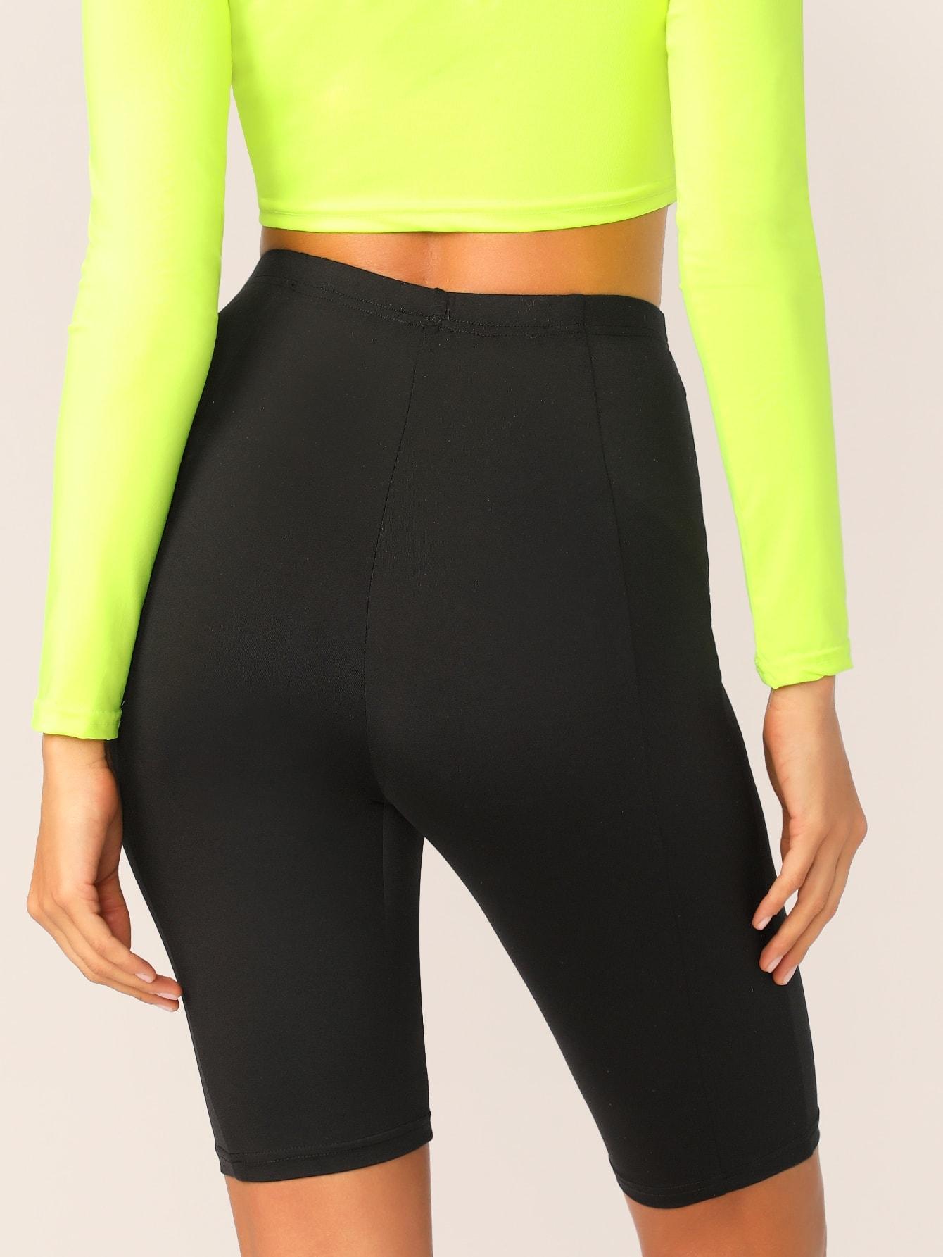 SHEIN / Shorts circulares sólidos de cintura alta