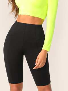 High Waist Solid Cycling Shorts
