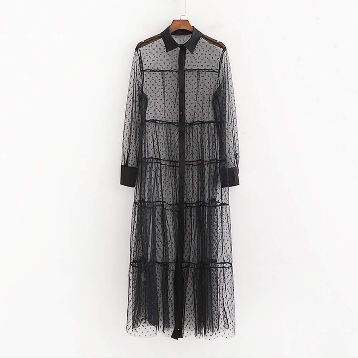 Сетчатое Прозрачное Платье-Рубашка Image