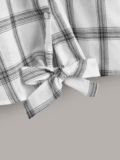 Glen Plaid Tie Front Button Front Blouse