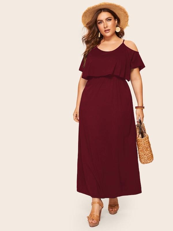 Однотонное платье с открытыми плечами размера плюс
