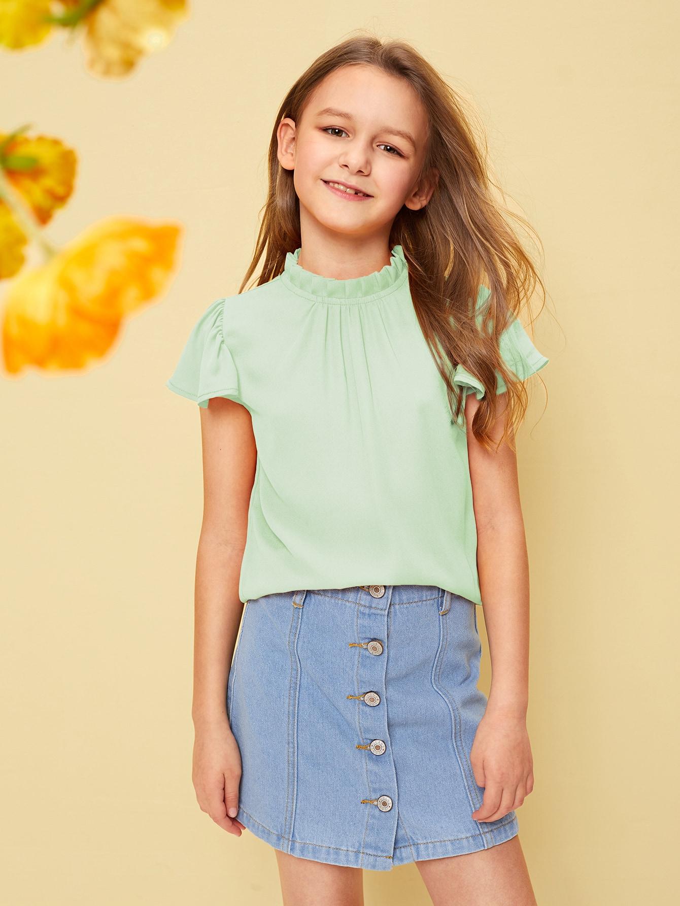 Фото - Топ со складками и оригинальным рукавом для девочек от SheIn зеленого цвета