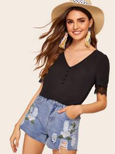Button Front Lace Cuff Tunic Top