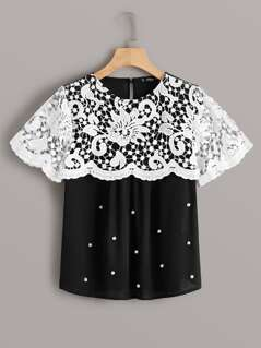 Pearl Beading Guipure Lace Cape Top