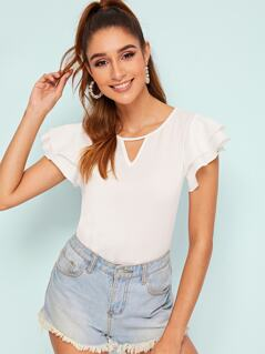 V-cut Neck Layered Ruffle Sleeve Solid Top