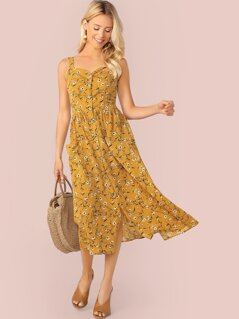 Ditsy Floral Button Front Slip Dress