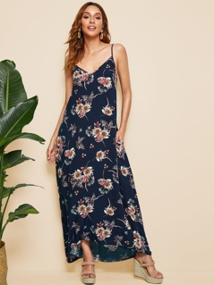 Floral Print Pocket Side Tent Cami Dress