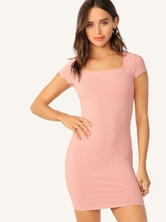Square Neck Rib-knit Bodycon Dress