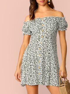 Allover Leaf Off Shoulder Shirt Dress