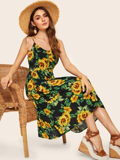 Button Up Sunflower Print Tea Dress