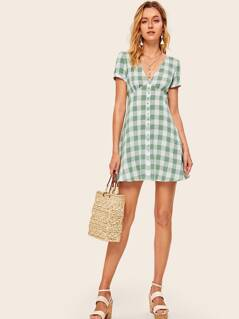 Gingham V-neck Empire Waist Button Detail Dress