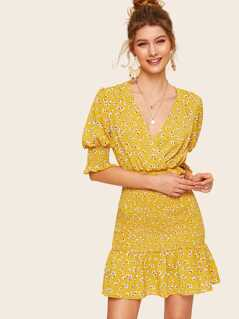Ditsy Floral Shirred Panel Ruffle Wrap Dress