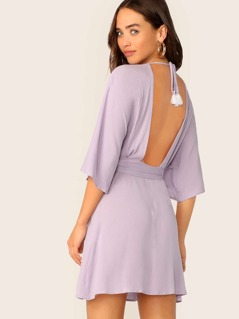 Plunge Neck Tassel Tie Open Back Belted Dress