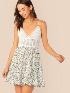 Ditsy Floral Tie Back Crochet Bodice Dress