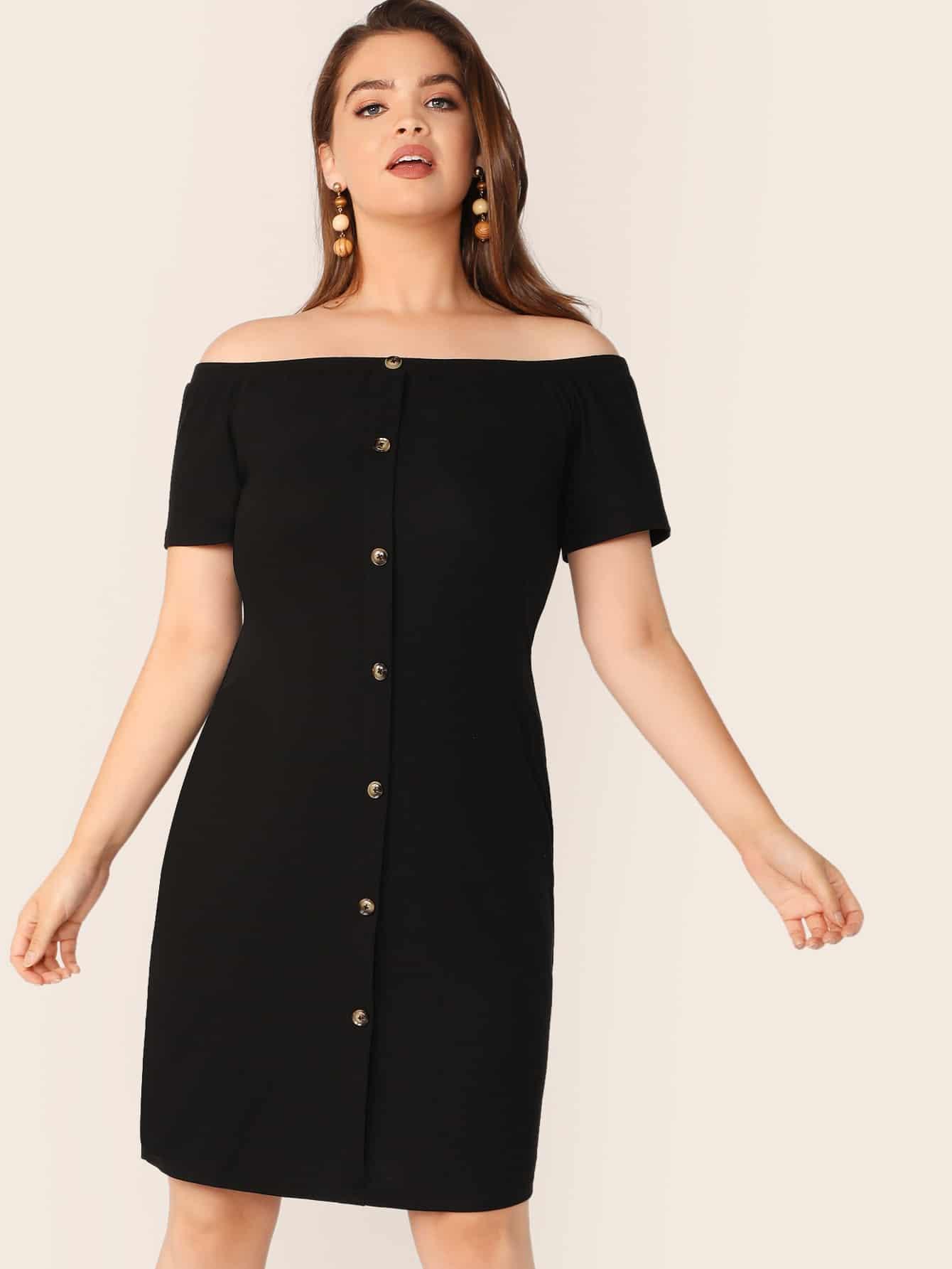Фото - Однобортное платье размера плюс от SheIn цвет чёрные