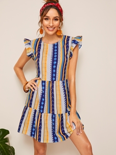Aztec Print Ruffle Trim Dress
