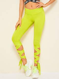 Neon Lime Wide Waistband Lace-up Hem Leggings