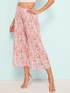Floral Print Pleated Culotte Pants