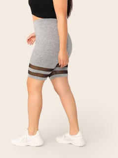Plus Mesh Insert Heather Grey Cycling Shorts
