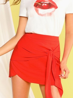 Solid Zip Back Wrap Knotted Skirt