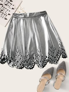 Laser Cut Scallop Leather Look Skirt