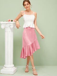 Ruffle Hem Asymmetrical Skirt