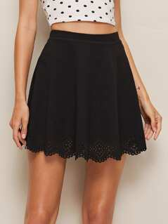 Laser Cut Scalloped Skater Skirt