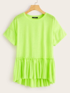 Neon Green High Low Ruffle Hem Tee