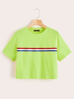 Neon Green Striped Tape Crop Tee