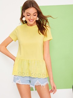 Embroidered Eyelet Panel Solid Top