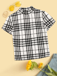 Mock Neck Plaid Slim Tee