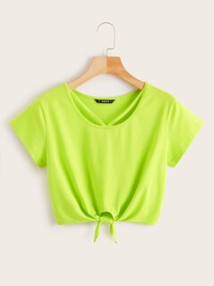 Neon Lime Strappy Neck Knotted Tee