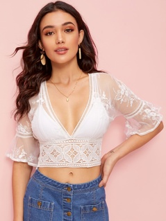 Deep V Neck Embroidered Mesh Lace Hem Top