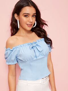 Zip Back Frill Trim Tie Front Bardot Top