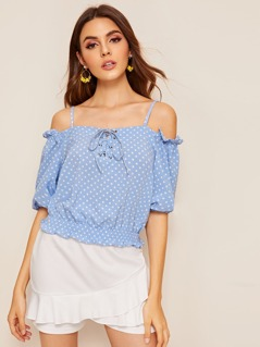 Polka-dot Print Lace Up Tight Hem Top