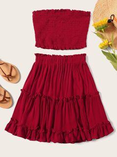 Plus Frill Shirred Tube Top & Layered Ruffle Hem Skirt Set